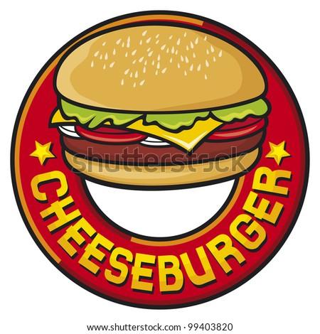 cheeseburger design (cheeseburger label) - stock photo