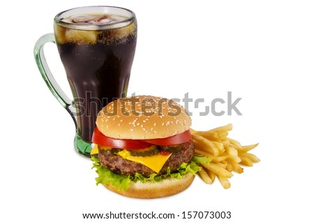Cheeseburger, french fries and cola on a white background