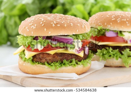 Cheeseburger hamburger burger tomatoes cheese unhealthy