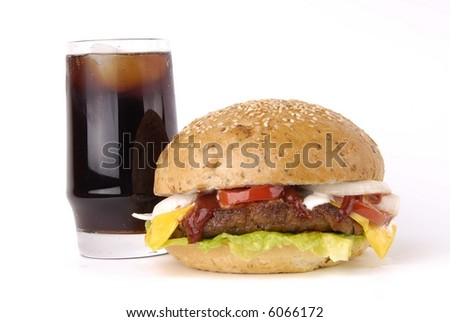 Cheeseburger / hamburger isolated on white background with coca - stock photo