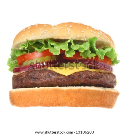 Cheeseburger hamburger isolated on white low angle. Fast food & barbecue collection. - stock photo