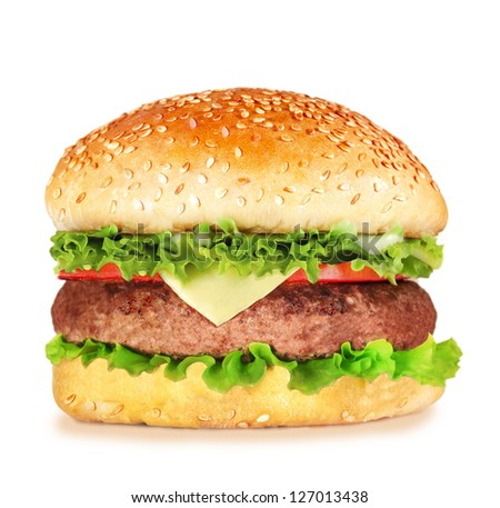 cheeseburger isolated - stock photo