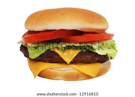 Cheeseburger isolated with clipping path