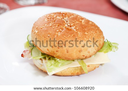 cheeseburger on the white plate - stock photo
