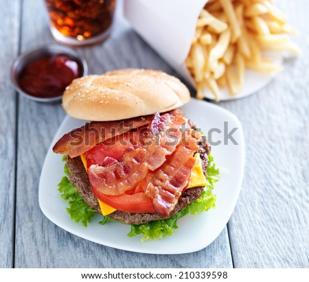 cheeseburger with bacon and french fries shot overhead - stock photo