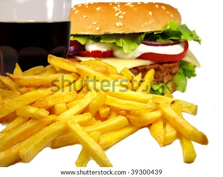 Cheeseburger with french fries and cola - stock photo
