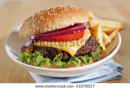 cheeseburger with french fries on a white plate. Shallow depth of field. - stock photo