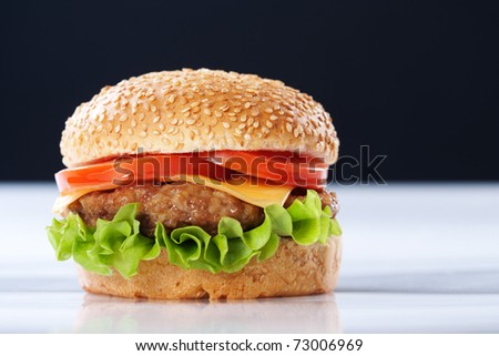 Cheeseburger with tomatoes and lettuce on black background - stock photo
