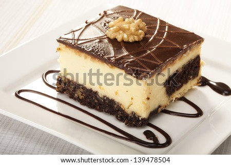 Cheesecak  on white plate (Selective Focus, Focus on the front upper edge of the cake) - stock photo
