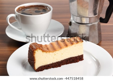 Cheesecake and coffee cup