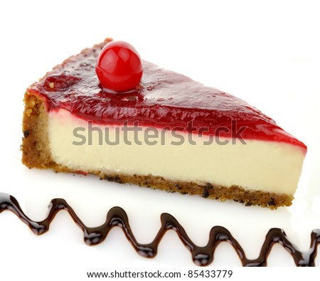 Cheesecake Slice with Chocolate Sauce and Cherries - stock photo