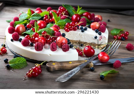 Cheesecake with berries and mint, summer dessert.