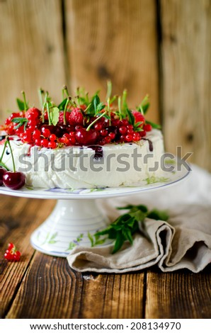 Cheesecake with berries. selective Focus - stock photo