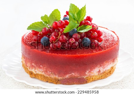 cheesecake with berry jelly, close-up, horizontal - stock photo