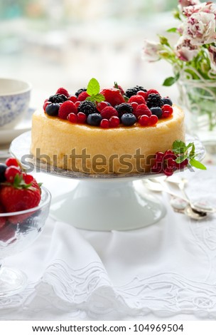 Cheesecake With Mixed Berries - stock photo