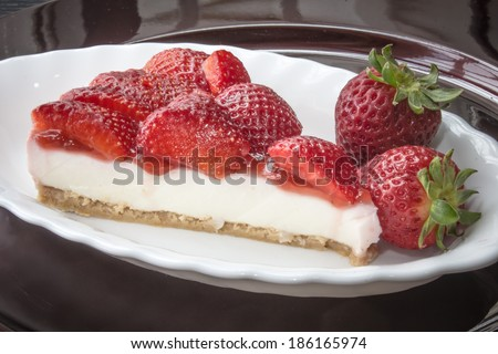 Cheesecake with strawberries  - stock photo