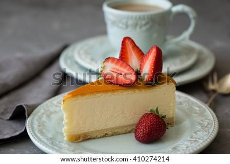 Cheesecake with strawberries, gourmet Breakfast - stock photo