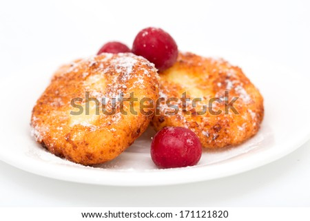 cheesecakes on a white background
