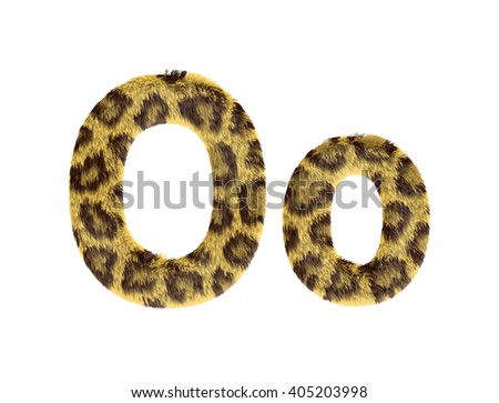 Cheetah fur font alphabet O on isolated white background.