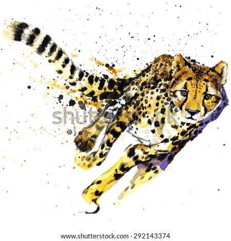 cheetah T-shirt graphics,  cheetah illustration with splash watercolor textured background. unusual illustration watercolor  cheetah fashion print, poster for textiles, fashion design - stock photo