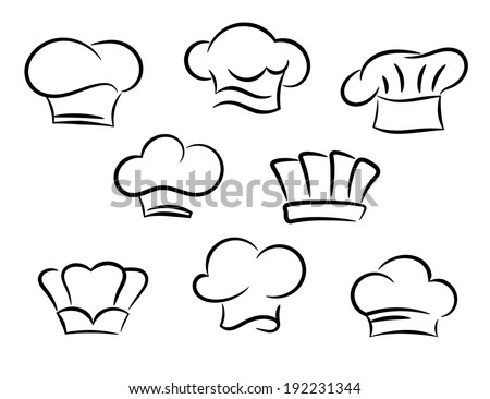 Chef and cook hats logo set isolated on white background. Vector version also available in gallery