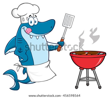 Chef Blue Shark Cartoon Mascot Character Licking His Lips And Holding A Spatula By A Barbeque With Roasted Burgers. Raster Illustration Isolated On White Background