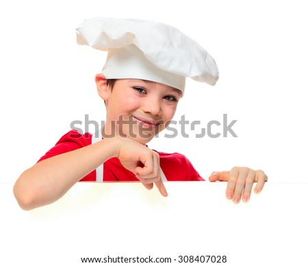 Chef boy pointing down by his finger isolated on white background   - stock photo