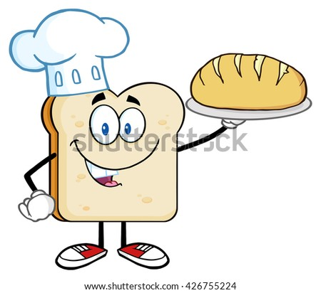Chef Bread Slice Cartoon Character Presenting Perfect Bread. Raster Illustration Isolated On White Background