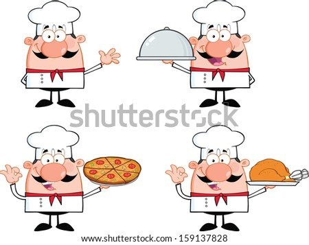 Chef Cartoon Characters 1. Raster Collection Set  - stock photo