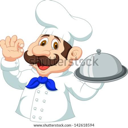 Chef cartoon with ok sign - stock photo