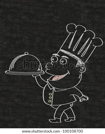 chef cartoon written on a blackboard background - stock photo