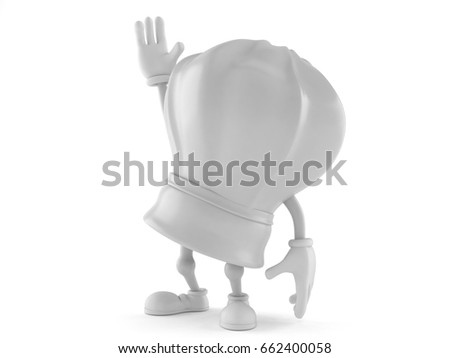 Chef character with hand up isolated on white background. 3d illustration
