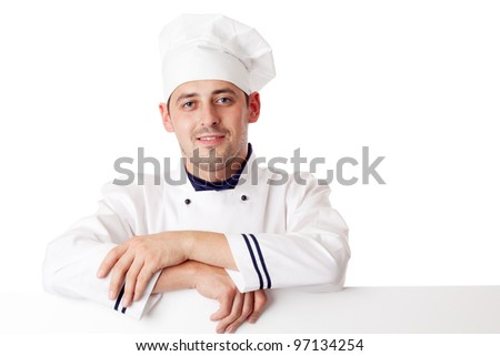Chef cook. Isolated over white. - stock photo