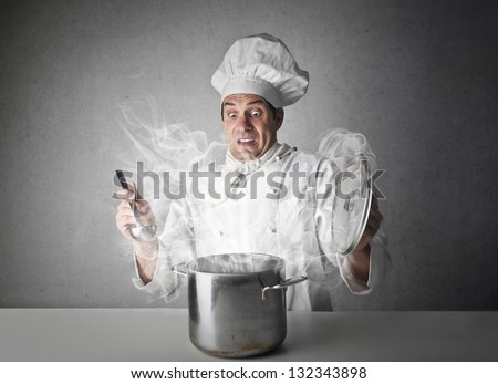chef cooking delicious food - stock photo