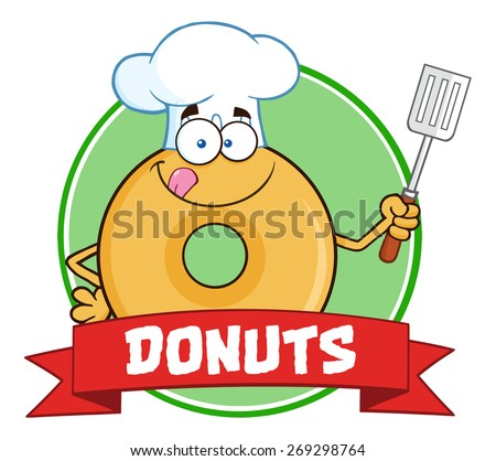 Chef Donut Cartoon Character Circle Label With Text. Raster Illustration Isolated On White - stock photo