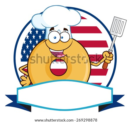 Chef Donut Cartoon Character Over A Circle Blank Banner In Front Of Flag Of USA. Raster Illustration Isolated On White - stock photo