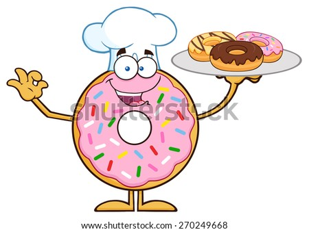 Chef Donut Cartoon Character Serving Donuts. Raster Illustration Isolated On White - stock photo