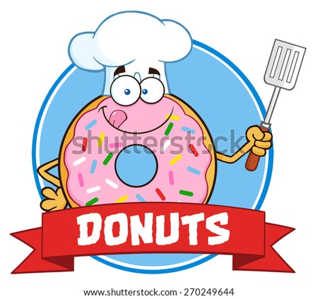 Chef Donut Cartoon Character With Sprinkles Circle Label With Text. Raster Illustration Isolated On White - stock photo