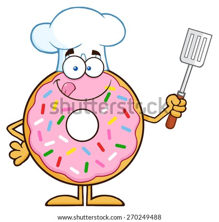 Chef Donut Cartoon Character With Sprinkles Holding A Slotted Spatula. Raster Illustration Isolated On White - stock photo