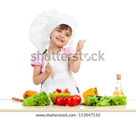 Chef girl preparing healthy food and showing thumb up over white background - stock photo