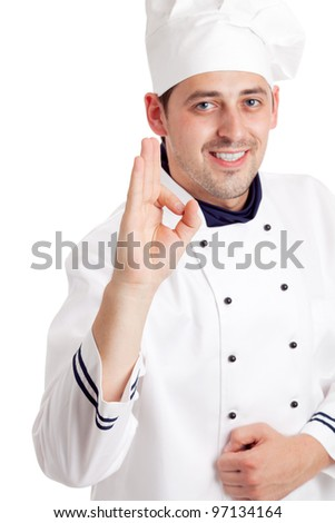 Chef giving the ok sign. Focused on hand. Isolated over white