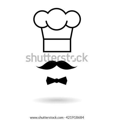 Chef hat and moustache icon. Raster version - stock photo