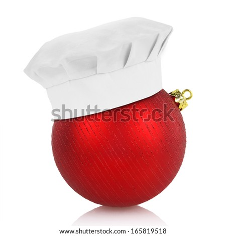 Chef hat on elegant Christmas ball isolated on white background - stock photo