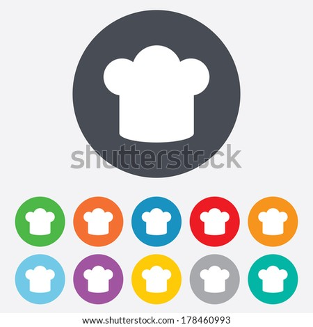 Chef hat sign icon. Cooking symbol. Cooks hat. Round colourful 11 buttons.