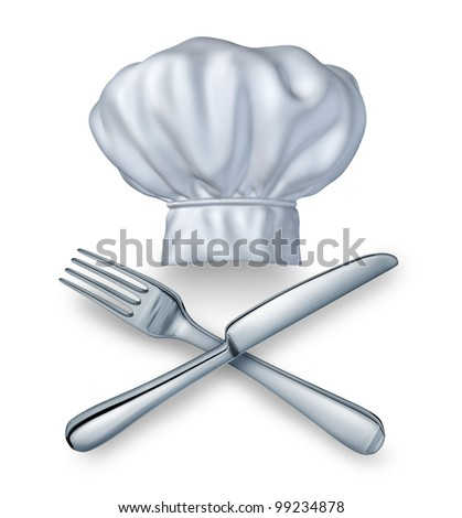 Chef hat with a knife and fork silverware as a food and drink restaurant symbol of leisure culinary experience on a white background for cooking fine cuisine and gourmet meals.