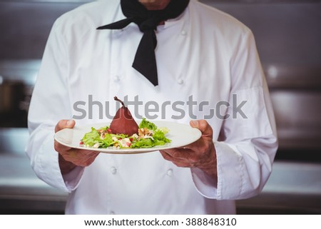 Chef holding a dish with salad in commercial kitchen - stock photo