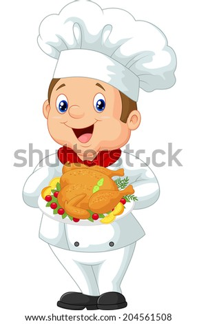 Chef holding roasted chicken - stock photo