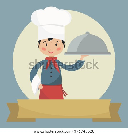 Chef holding silver cloche. Banner with space for text. Simple flat bitmap illustration.