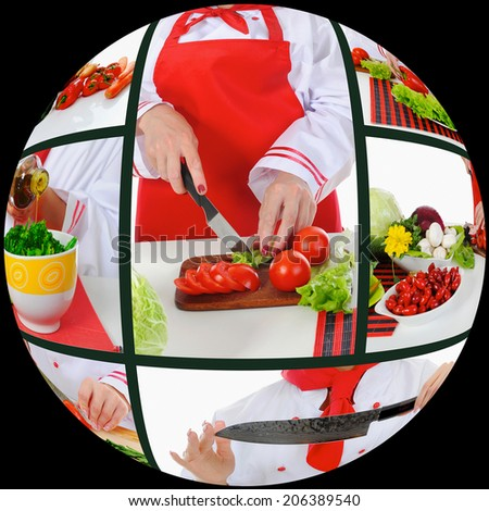Chef in uniform cuts the salad in the kitchen. Collage - stock photo