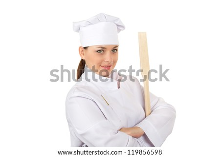 Chef In Uniform With Spatula Isolated On White Background (with clipping path)